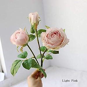 Sulin 6PCS Artificial Rose Flower 3 Heads Bouquet Fake Silk Flower for Party Home Garden Wedding,B 92