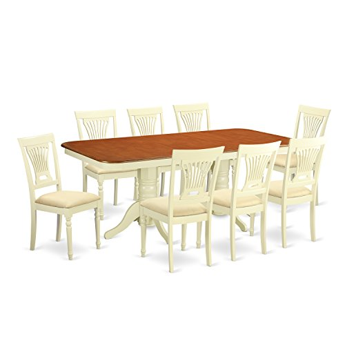 East West Furniture NAPL9-WHI-C 9 Piece Kitchen Dinette Table and 8 Dining Chairs