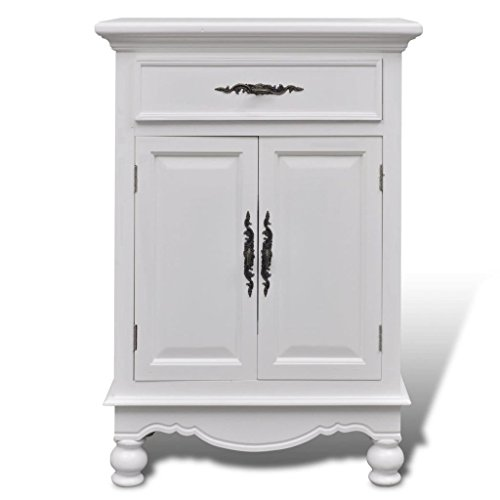 lunanice Pine Wood Floor Cabinet/Cupboard with 2 Doors 1 Drawer Bathroom Kitchen (Pine Iron Door)
