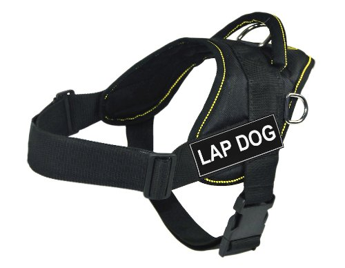 Dean & Tyler Fun Harness, Lap Dog, Black with Yellow Trim, X-Large, Fits Girth Size  34-Inch to 47-Inch