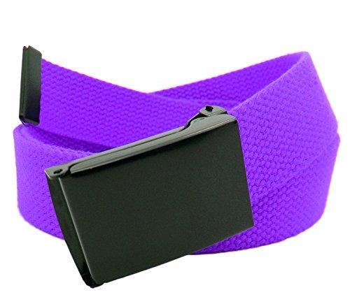 Men's Black Flip Top Military Belt Buckle with Canvas Web Belt XX-Large Purple