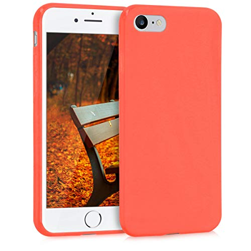 kwmobile TPU Silicone Case for Apple iPhone 7/8 - Soft Flexible Shock Absorbent Protective Phone Cover - Orange