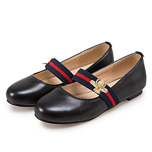 Simple COOLCEPT Bout Janes A Enfiler Plat Escarpins Femme Chaussures Ferme Mary Noir Rond Off6q