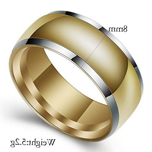 (Waldenn 8mm SilverGold Plated Band Mens Gift 316L Stainless Steel Wedding Ring Sz 7-12 | Model RNG - 26684 | 10)