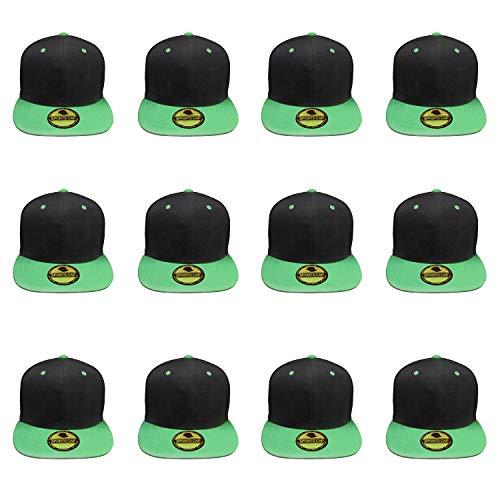 - Plain Blank Flat Brim Adjustable Snapback Baseball Caps Wholesale LOT 12 Pack - 1500-Black Green