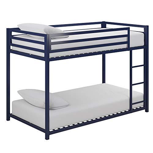 DHP Miles Twin Metal Bunk Bed, Kid's Bedroom, Space-Saving Design, Blue, Twin/Twin