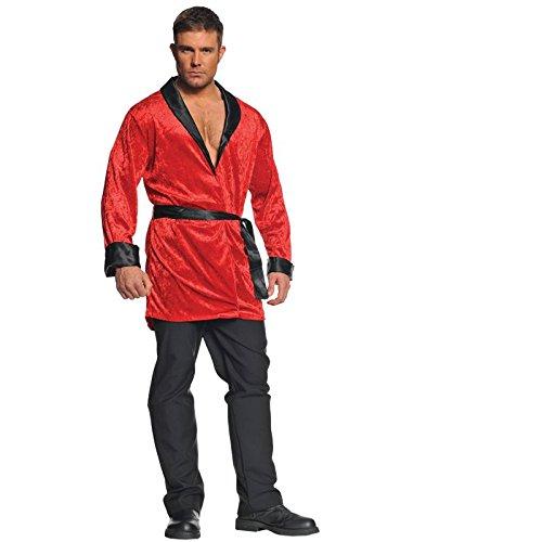 Red Smoking Jacket Adult Costume - (Smoking Jacket Fancy Dress Costume)