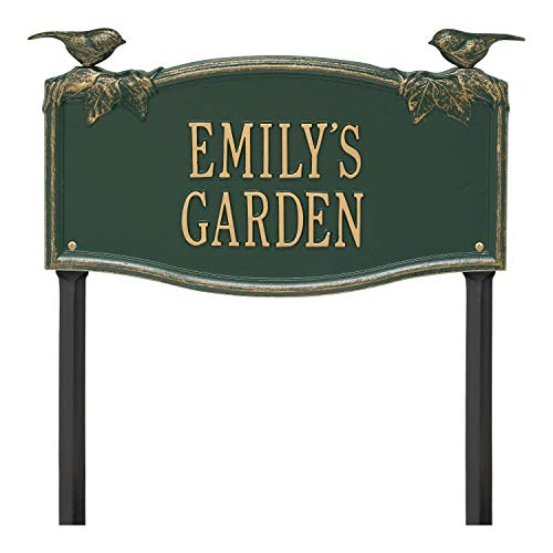 (Whitehall 2 Line Personalized Chickadee and Vine Aluminum Lawn Garden Plaque 18.5