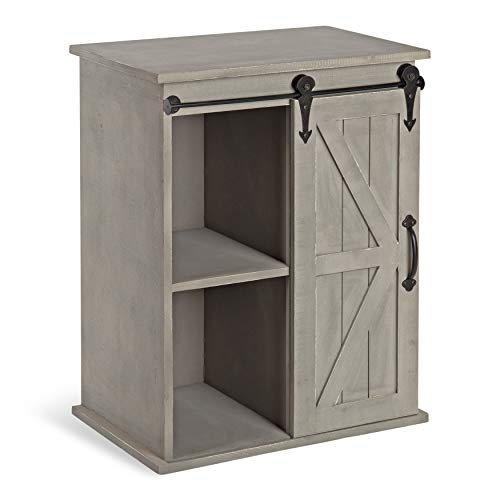 Kate and Laurel Cates Wooden Freestanding Storage Cabinet Side Accent Table with Sliding Barn Door, Rustic Gray