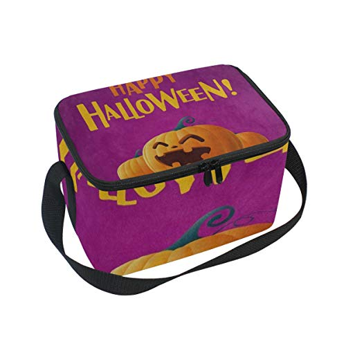 Lunch Bag Happy Halloween Pumpkin Smiling Womens Insulated Lunch Tote Zipper Kids Lunch Box