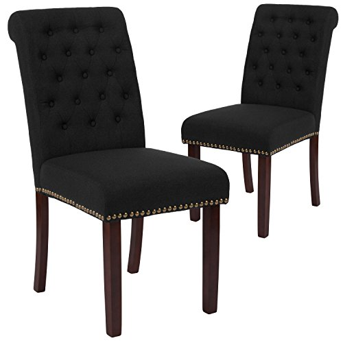 Flash Furniture 2 Pk. HERCULES Series Black Fabric Parsons Chair with Rolled Back, Nail Head Trim and Walnut Finish