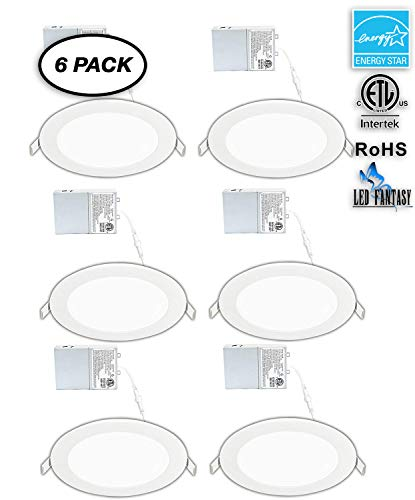 LED FANTASY 6-Inch 15W 120V Recessed Ultra Thin Ceiling LED Light Retrofit Downlight Wafer Panel Slim IC Rated ETL Energy Star 1000 Lumens (Warm White 3000K, 6 Pack)