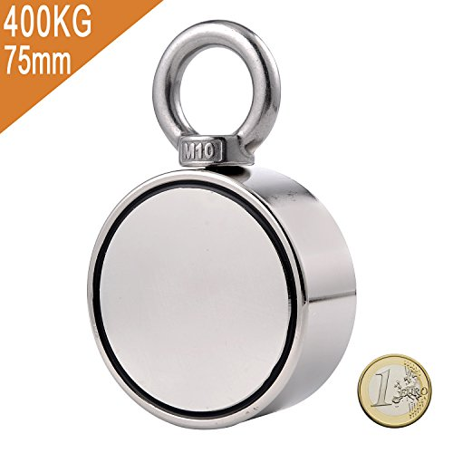 Uolor Double Side Round Neodymium Fishing Magnet, Combined 400KG Pulling Force Super Strong Neodymium Magnet with Eyebolt for Magnet Fishing and Retrieving in River - 75mm Diameter