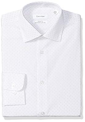 Calvin Klein Men's Dress Shirts Non Iron Regular Fit Stretch Textured Stripe