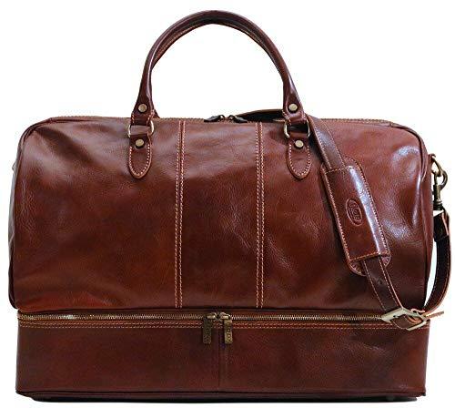Venezia Traveler Leather Drop Bottom Duffle Bag