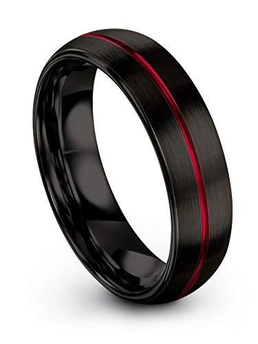 (Chroma Color Collection Tungsten Carbide Wedding Band Ring 6mm for Men Women Red Center Line and Black Interior with Dome Brushed Polished Comfort Fit Anniversary Size 13)