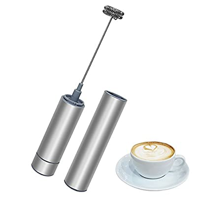 Milk Frother, Daugee Electric Handheld Milk Foamer with Double Stainless Steel Whisk Head Clean Brush and Storage Tube Perfect for Cappuccinos, Bulletproof Coffee, Latte (Battery Not Included) from Daugee