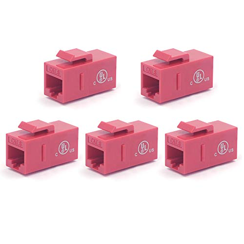 VCE [UL Listed] 5-Pack CAT6 Keystone Coupler,RJ45 Female to Female Insert Coupler, UTP Keystone Inline Coupler-Red