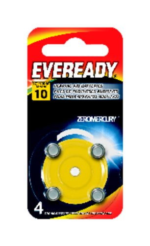 Eveready Zinc Air Spin Pack Hearing Aid Batteries Evr10, 4-Count
