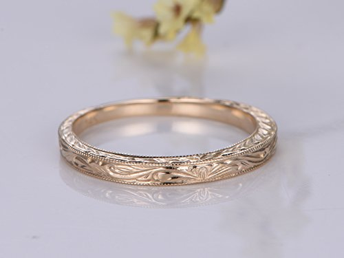 14K Yellow Gold Carving Wedding Band,Reco Filigree Design Engagement Ring,Nouveau leaf Engraving,Bridal Promise Ring