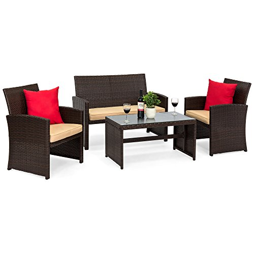 Seat Conversation Set - Best Choice Products 4-Piece Wicker Patio Conversation Furniture Set w/ 4 Seats, Tempered Glass Tabletop, 3 Sofas, Table, Weather-Resistant Cushions - Brown