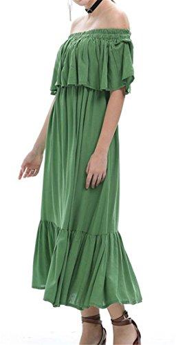 Les Femmes Cromoncent Off Manches Épaule Froissée Balançoire Couleur Pure Taille Haute Vert Robe Longue