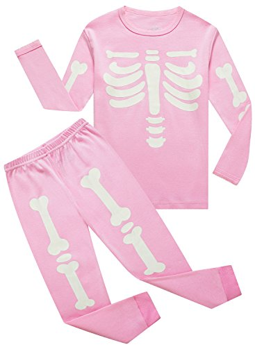 Girls Pyjama Set - IF Pajamas Little Girls Skeleton Halloween Sets Long Sleeve Kids Toddler PJS Size 4T