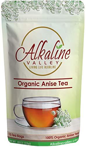 Anise Tea - 100% Organic and Alkaline - 15 Unbleached/Chemical-Free Anise Tea Bags - Caffeine-Free, No GMO