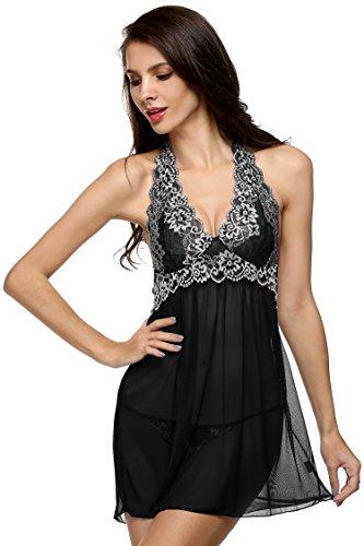 Tomasa Mujeres Atractivo Ropa de Dormir de Encaje Halter Ropa de Noche Babydoll Lencería Set Noche Mini Vestido + G-string Negro