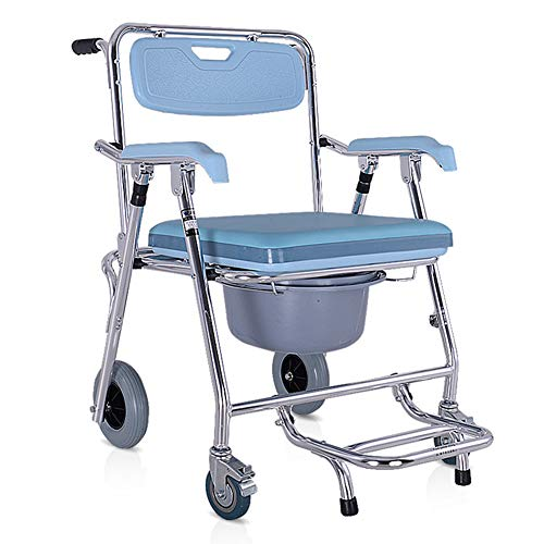 - Folding Commode Chair for Toilet with Wheels&Pedal,Heavy Duty 350 lbs,4 in 1 Multifunctional Portable Bidet Chair Shower Bath Chair for Elder Disabled People Pregnant Women