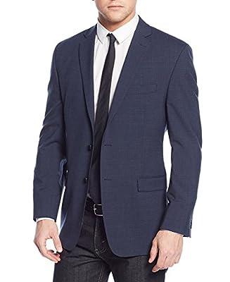 Calvin Klein Regular Fit Navy Blue Plaid Two Button Wool Blazer Sportcoat