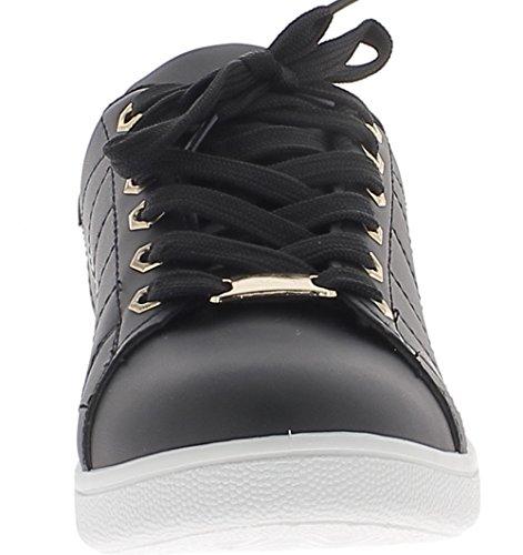Baskets ville femme noires avec insert doré et semelle blanche