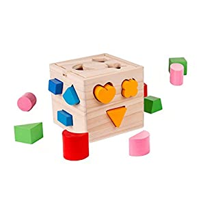 Shape Sorter Toy with 15 Holes My First Wooden Toys Shapes and Colors Matching and Sorting for Toddlers - Learning and Educational Toys for Kids
