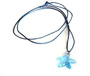 Waooh - Joyería - colgante de Swarovski / la estrella azul y cordón de cera - Azul