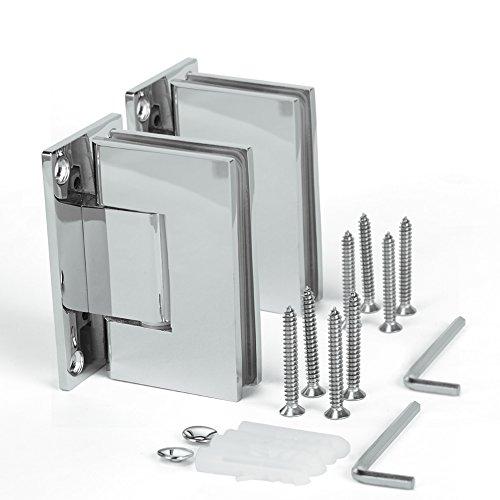 SUNNY SHOWER SH-CH 1 Pair (2 Hinges) Frameless Pivot Shower Door Hinge, 90 Degree Wall-to-Glass, Stainless Steel Polished, - Doors Hinge Frameless Shower