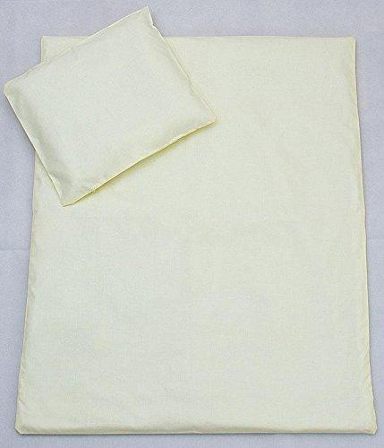 2 Pcs Crib/Cradle/Pram Bedding Set - 70x80cm Duvet Cover & Pillowcase - Plain Cream Baby Comfort