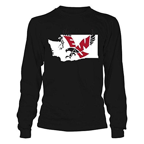 FanPrint Eastern Washington Eagles T-Shirt - Logo State - Longsleeve Tee/Black/L