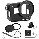 Aluminum Case Frame for GoPro Hero 6 Hero 5 with 52mm UV Filter Skeleton Housing with Microphone Mic Mount for Go Pro Hero6 - Best Protection for GoPro