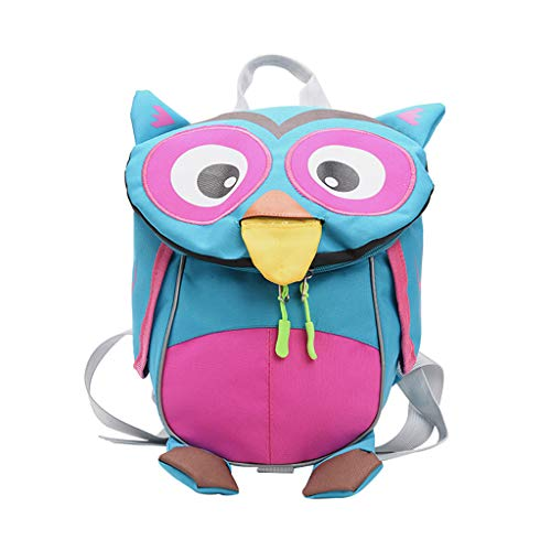 Kisses Magnetic Bracelet Jewelry - Londony ✡ Little Kids School Bag Toddler Backpack Name Tag and Chest Strap Cartoon Travel Bag for Baby Girl Boy, Owl Blue