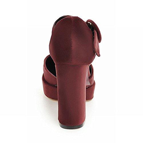 Shoes Schuhe Buckle Damenmode Mee Platform Rot Heel High Blockabsatz Court AwpfqfPx4
