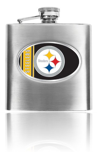 Great American Products Personalized NFL Pittsburgh Steelers 8oz stainless steel Flask- Free Engraving (Pittsburgh Steelers)