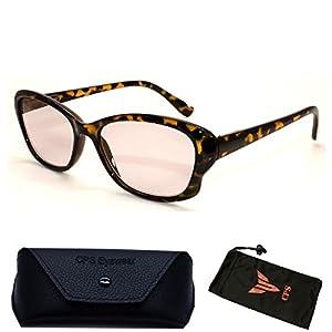 (#SunRead003 Brn) 1 Pair Designer Fashion Transparent Oval Women Sun Reader Glasses (Reading + Sunglasses- All In One) (Strength: +2.50)
