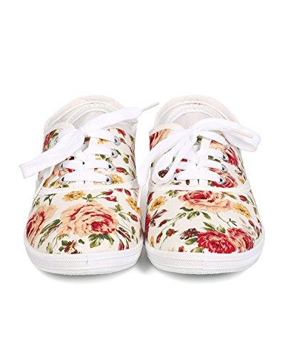 Aggiorna Fa27 Women Canvas Lace Up Sneaker In Tela Floreale - Bianco