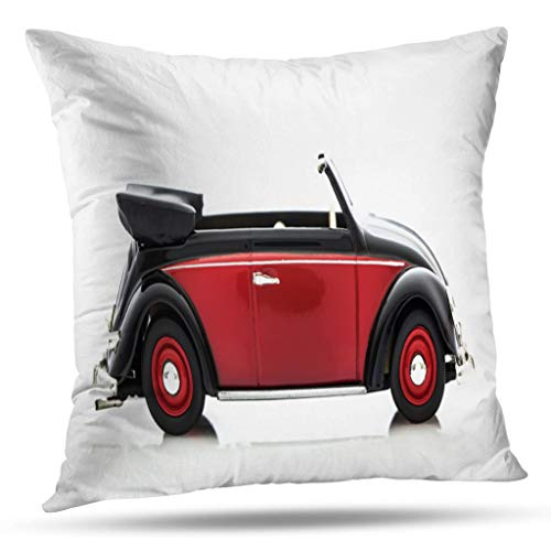 Kutita Vintage Car Decorative Pillow Covers, UK December Beetle Red and Black Model White Car Beetle Classic Vintage Throw Pillow Decor Bedroom Livingroom Sofa 18X18 - Pillow Beetle