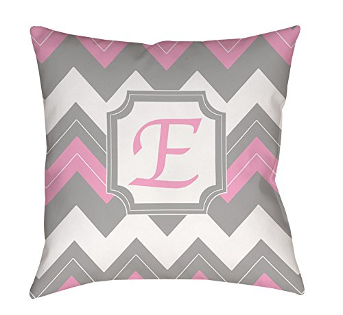 Manual Woodworkers & Weavers Square Throw Pillow, 26-Inch, Monogrammed Letter E, Pink Chevron