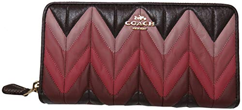 Coach Ombre Quilted Accordian Zip Around Wallet Oxblood Multi