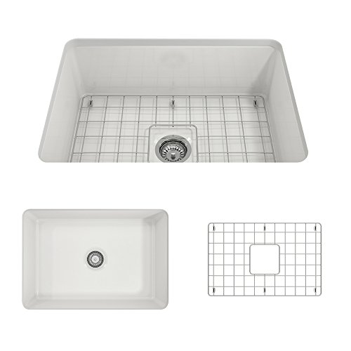 - BOCCHI 1360-001-0120 Sotto Undermount Fireclay 27 in. Single Bowl Kitchen Sink with Protective Bottom Grid and Strainer in White,