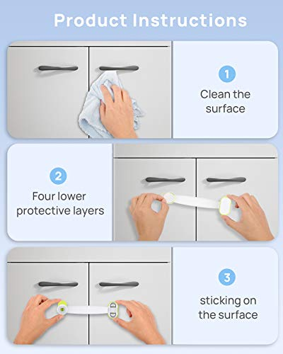 41Zk2oY WsL CHOOBY Child Safety Cabinet Locks, 10 Pack Baby Proofing Refrigerator Locks with Strong Adhesive, No Tools or Drilling, Multi-Purpose Strap Latches for Fridge, Cupboard, Toilet Seat, Drawers, Oven    Product Description