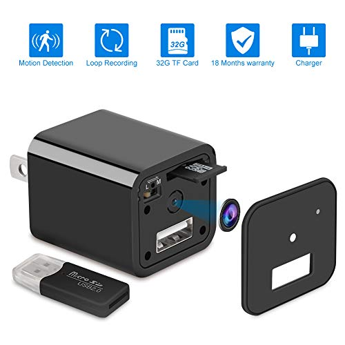 Home Surveillance Charger Camera 1080P Motion Detection Wall Adapter Camera Loop Recording 32GB -No WiFi Needed -2019 Version (Best Spy Camera With Audio)