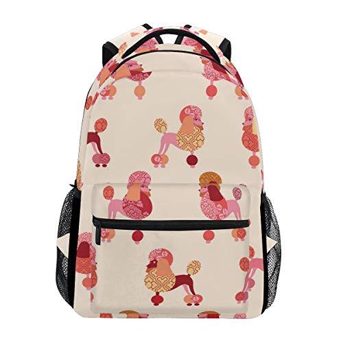 (Women Canvas Backpack Poodles College School Shoulder Bag)